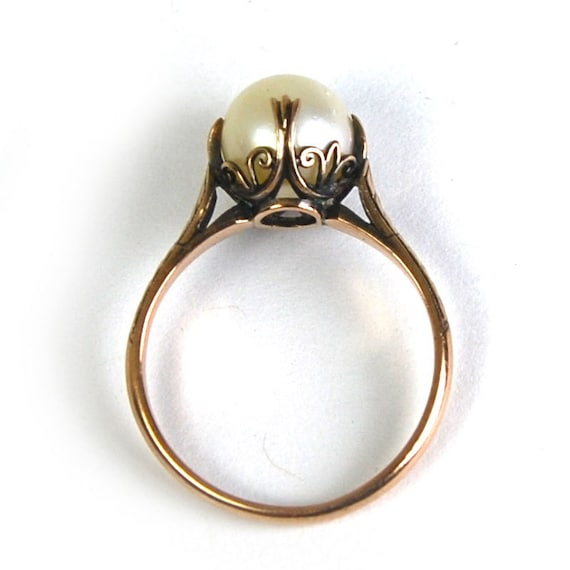 reserved antique nouveau pearl ring cathedral setting 10