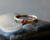 Apricot Sapphire Solitaire Ring, 14k Yellow Gold Ring, Unique Gemstone Ring, Gemstone Stacking Ring, Rich Red Color, Recycled Gold