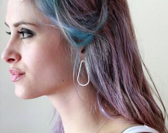 Large Teardrop Earrings, Big Earrings, Sterling Silver, Statement Jewelry, Open Drops, Lightweight Earrings, Handmade Jewelry