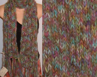 Scarf Hand Knit Handpainted Wool Mohair Chunky Fringed pastel pink green blue