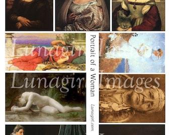 PORTRAITS of WOMAN digital collage sheet antique art paintings Victorian images nudes women Mona Lisa Renaissance goddess DOWNLOAD