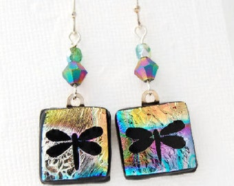 Etched Dragonfly Earrings, Dichroic Earrings, Fused Glass Earrings, Etched Dichroic, Dragonfly