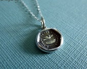 Trust Wax Seal Necklace of a Swallow Flying Away - I Trust in its Constancy - 190