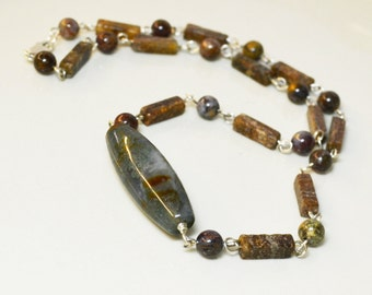 Evergreen Necklace / 18 inches / Green, Brown, Pietersite, Jasper, Stone, Links, Sterling Silver