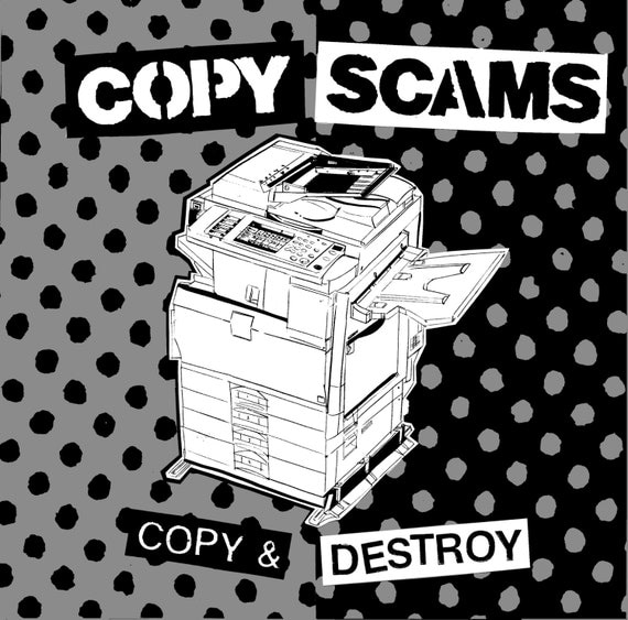 Copy Scams - Copy & Destroy 10 inch vinyl record, digital download code and 16 page zine