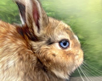 Custom Bunny Portrait  - Rabbit Art - Lifelike Pet Portrait from your photo - memorial pet gift
