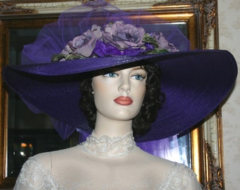 Southern Belle Hat Ascot Hat Kentucky Derby Hat Tea Hat Titanic Hat Somewhere in Time Hat - Sweetheart of Ritzville - Purple Hat Wide Brim