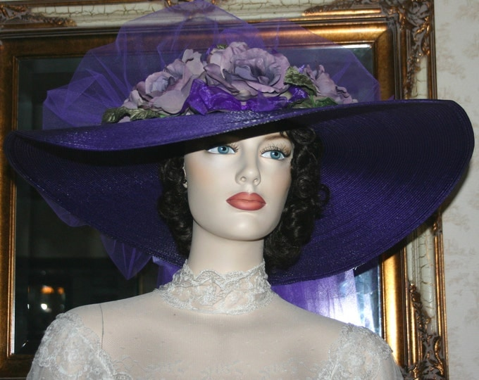 Featured listing image: Southern Belle Hat Ascot Hat Kentucky Derby Hat Tea Hat Titanic Hat Somewhere in Time Hat - Sweetheart of Ritzville - Purple Hat Wide Brim