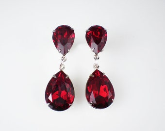 Rhinestone Earrings Ruby Red Dangle Earrings Swarovski Siam Red Wedding Jewelry Bridesmaid Jewelry