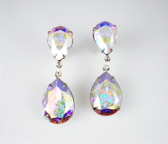 rhinestone earrings crystal aurora borealis swarovski dangle