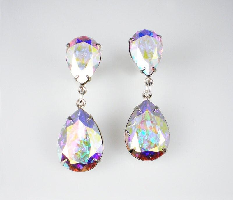 Rhinestone Earrings Crystal Aurora Borealis Swarovski Dangle