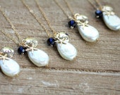 Pearl Bridesmaid Necklaces, Beach Wedding, Starfish Necklaces, Bridesmaid Gift, Set of Five, Gold Initial Charm,Teardrop Pearl, Navy Blue