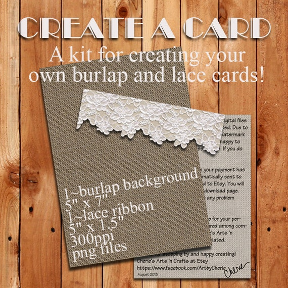 burlap and lace card kit photoshop templates card templates. Black Bedroom Furniture Sets. Home Design Ideas