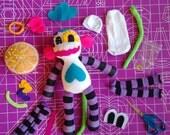 "D.I.Y. Kit - PURPLE - Sugar Skull Sock Monkey Plush Doll - 12"""