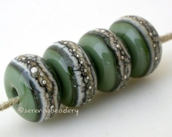 Lampwork Glass Bead Set OLIVE GREEN Silvered Granite Handmade -  - glossy or matte