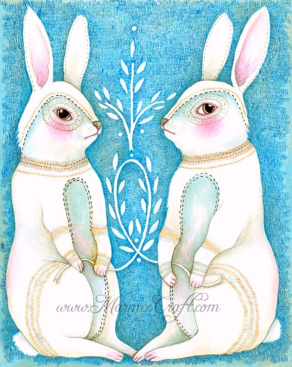 "MarmeeCraft Rabbit art print-""Folk Hare"""