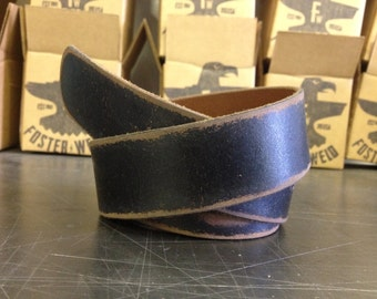 BLEMISHED - Distressed Black Leather Belt by Fosterweld