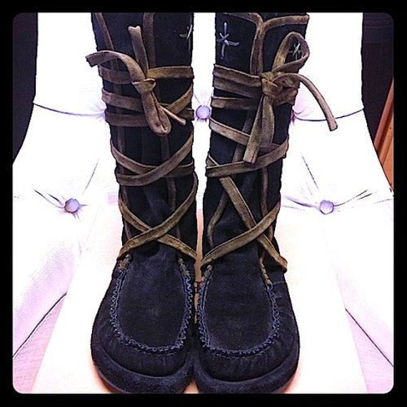 Hold for Ashlee Bal - Vintage Black Moccasins Boots - Espace Robert Clergerie Black Suede Leather Boots - Size 8.5M and 8.5W