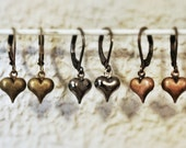 Valentine's Day Tiny Puffy Hearts Earrings, antiqued copper, antiqued brass, gunmetal, love heart sweetheart lover girlfriend wife mother