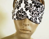 Damask Sleep Mask Black On White All Cotton Elegant Luxury Eye Mask