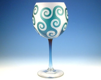 Spiral Waves Wine Glass - Frosted Style - Etched and Painted Glassware - Custom Made to Order