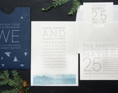 Letterpress Wedding Invitations: 'Blue Ridge Mountains' (custom printed)