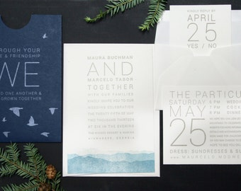 Letterpress Wedding Invitations: 'Blue Ridge Mountains' (custom printed)
