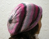 Rolled brim slouchy hat, silver, charcoal, grey, pink, fuchsia, tweed stripes, women's hat, knit hat, chemo cap, knit slouchy, toque, winter