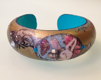 Victorian Black, Teal and Gold Collage Decoupage Romantic Fashion Art Bangle Wood Cuff w Swarovski Crystals