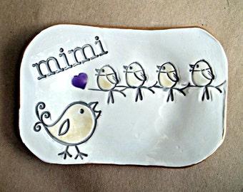 Ceramic MIMI Trinket  Dish with 4 birdies