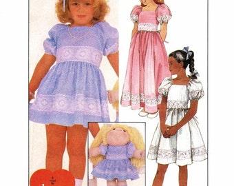 1980s Girls Dress Matching Soft Sculptured Doll Dress McCalls 9624 Vintage Sewing Pattern Size 6 UNCUT