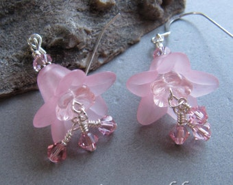 Cornerstoregoddess Pink Lucite Crystal Summer Flower Garden Earrings