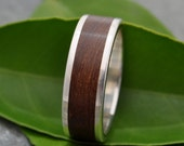 Size 7.5, 8mm wide READY TO SHIP Lados Nacascolo Wood Ring - recycled sterling silver and sustainable wood wedding band