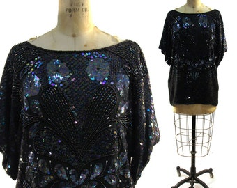 80s GLAM Silk Sequin Blouse / Jet Black