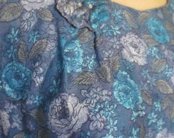 SALE 1960s Floral Wiggle Sundress Day Dress Rockabilly Pin Up Vintage Medium Bust 38 Waist 30 Hip 42 Viva Las Vegas Polished Cotton