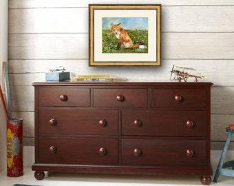 fox art | watercolor painting | fox print | animal art | watercolor animals | watercolor art | woodland animals | boys room decor