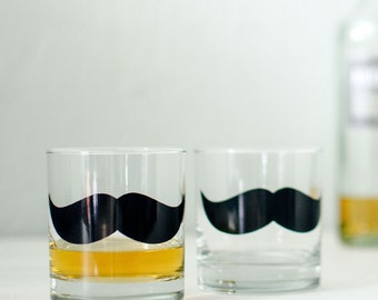 Mustache Glassware ROCKS screen printed barware