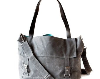 Waxed Canvas Letter Bag - Gray and Teal