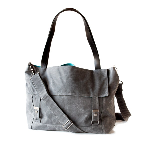 Waxed Canvas Tote - Letter Bag - Gray and Teal