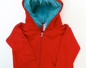 Toddler Monster Hoodie - Size 4T - Red with aqua - horned sweatshirt, custom jacket, great gift for kids