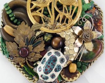 HALF OFF SALE! - Hand Mirror - Marshlands - Repurposed Jewelry M000663