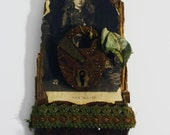 The Waif- Mixed Media Assemblage on Reclaimed Barnboard