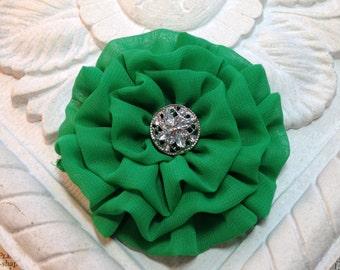 Green Flower Hair Clip.flower Pin.Flower Brooch.flower Headpiece.Bridesmaid.Wedding.Christmas Green.Kelly Green Flower.Grass Green.Brooch