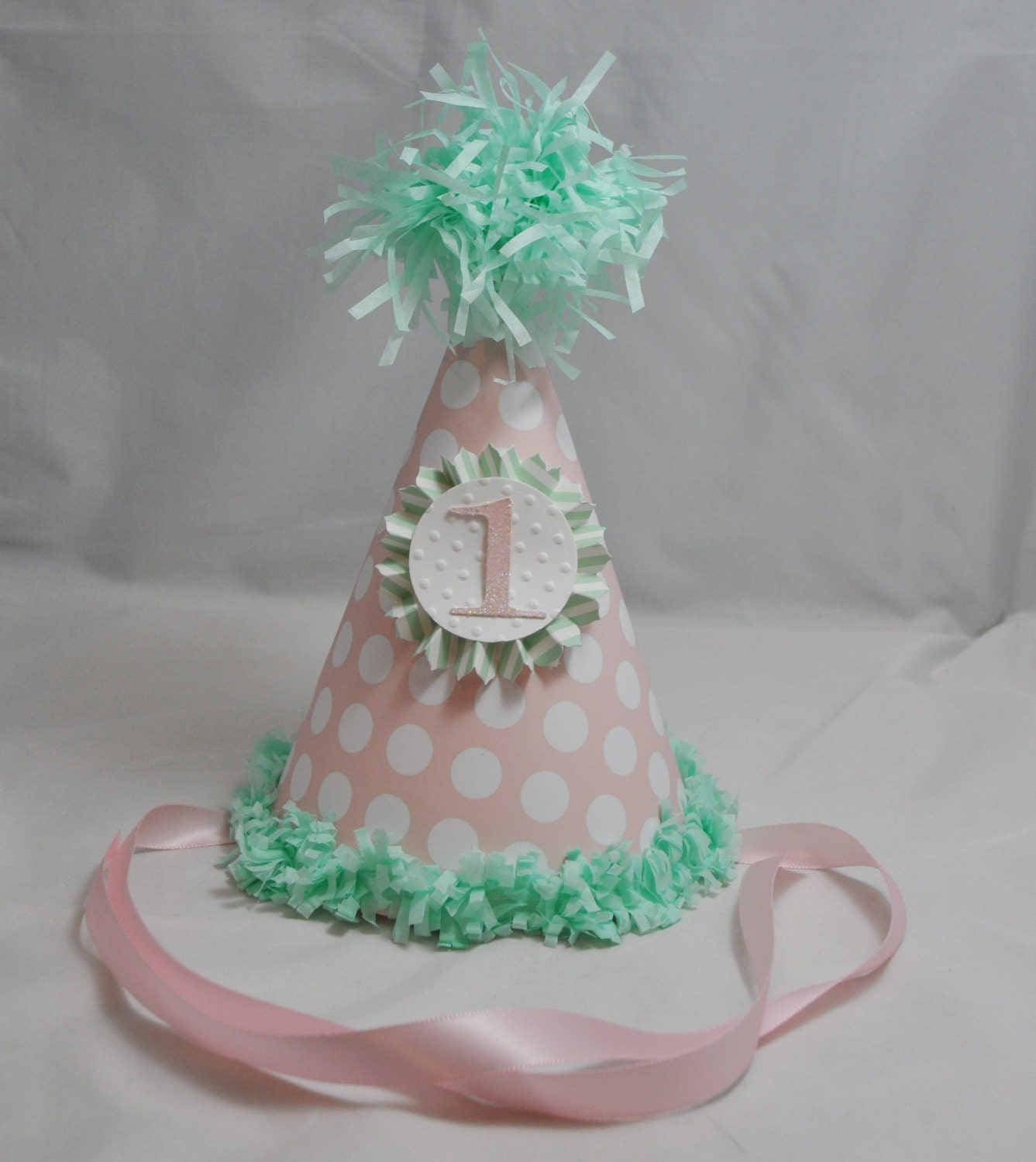 Pink And Mint Green 1st Birthday Party Hat By