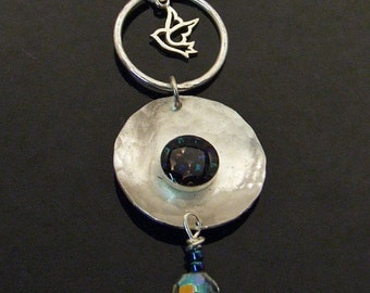 SALE - Sterling Silver BIRD with BLUE Seed Beads, Crystals, Hammered Metal Hoop, Fine Metal Artisan Jewelry Pendant with Bead Chain
