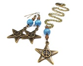 Plus Size, Little Twinkle Star in Big Bang Blue, Necklace and Earring Set, Plus Size Jewelry