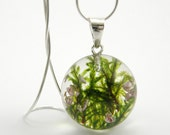 Green Moss and Heather Pendant, Medium Resin Round with Sterling Silver Chain, Forest Theme, Botanical Jewelry