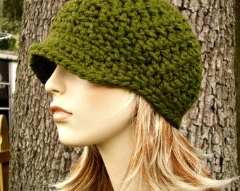 Olive Green Newsboy Hat Crochet Hat Womens Hat - Jockey Cap - Green Hat Green Beanie Crochet Newsboy Hat - Womens Accessories Winter Hat