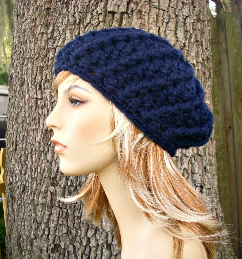Crochet Hat Womens Hat Nautilus Ribbed Beret in Navy Blue