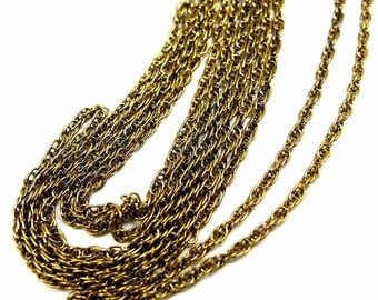 Vintage Gold Plated on Steel Rope Chain Necklaces (18 inches) (4X) (C589)